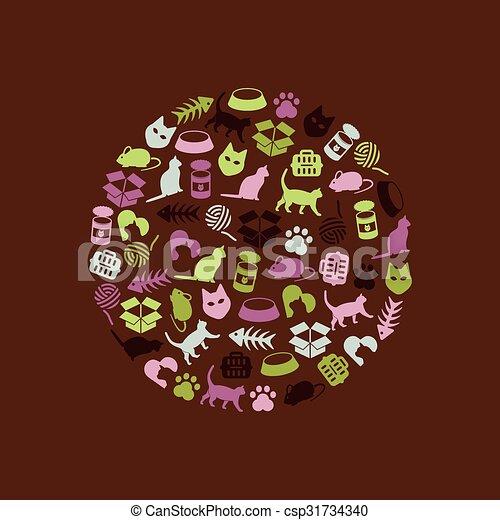 cat icons in circle - csp31734340
