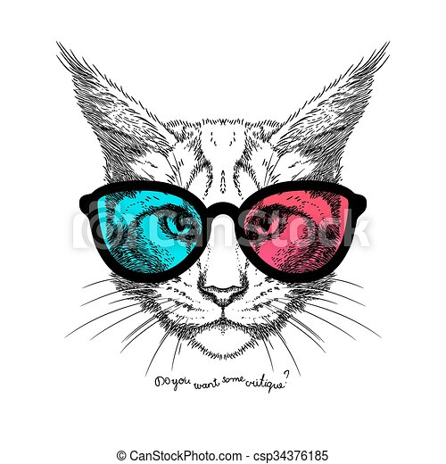 Cat In 3d Glasses Hand Drawn Stylized Portrait Of Cat