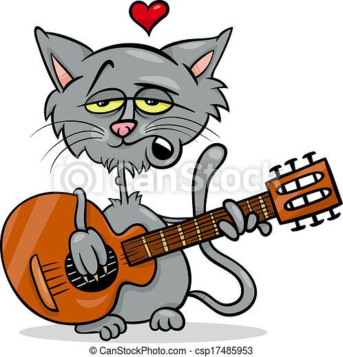 cat in love cartoon illustration - csp17485953