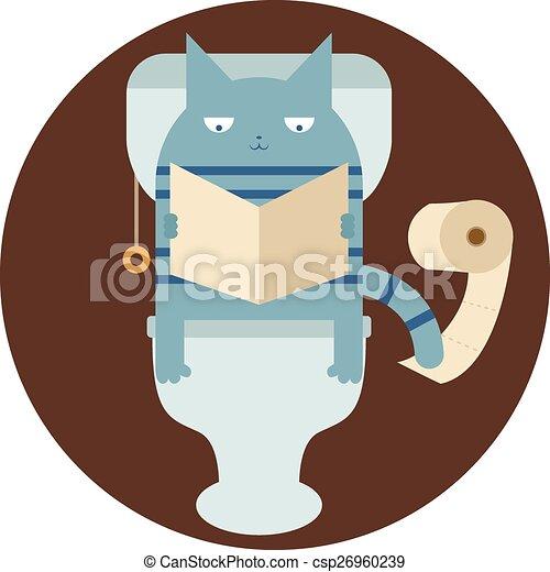 Cat In The Toilet Vector. Cat in the toilet  Vector image of a cat in the toilet vectors