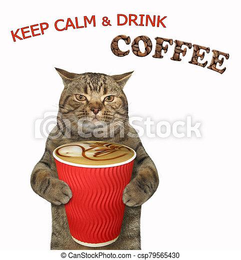 Cat likes black coffee 2 - csp79565430