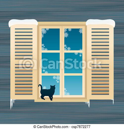 Cat near windows - csp7872277