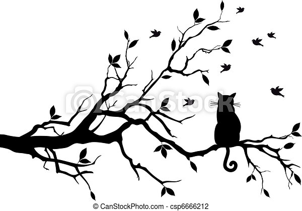 cat on a tree with birds, vector - csp6666212