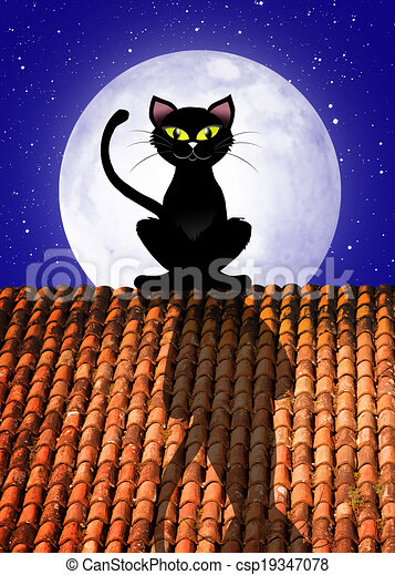 Cat On Roof Illustration Of Cat On Roof