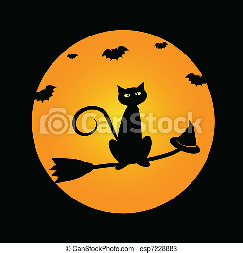 Cat on Witches Broom - csp7228883
