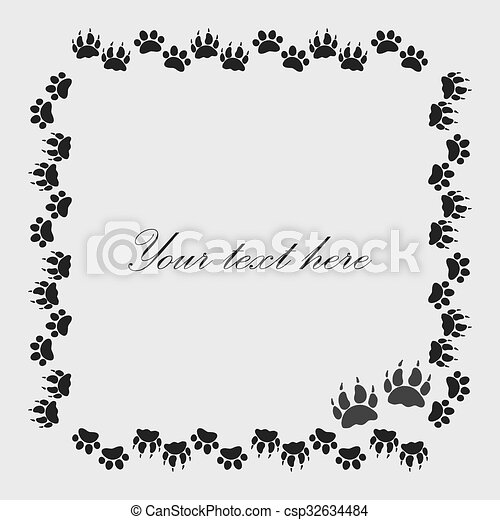 Cat or dog paw prints frame for your text background, vector ...