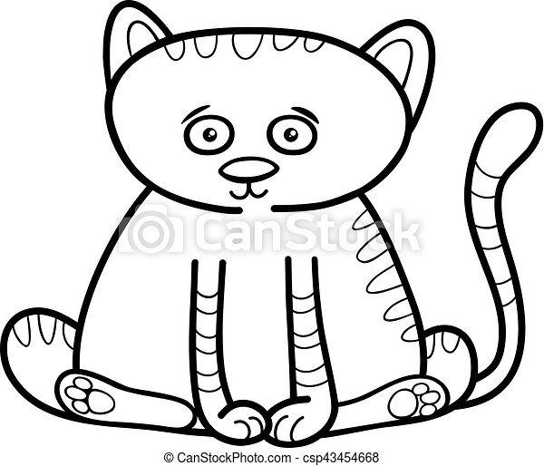 Cat Or Kitten Coloring Page Black And White Cartoon Illustration Of
