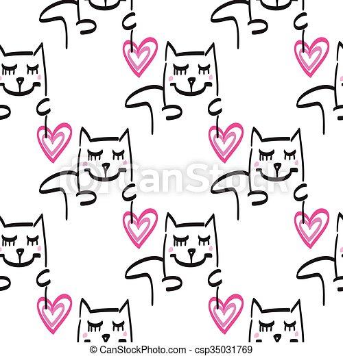 Cat pattern vector hand drawn illustration - csp35031769