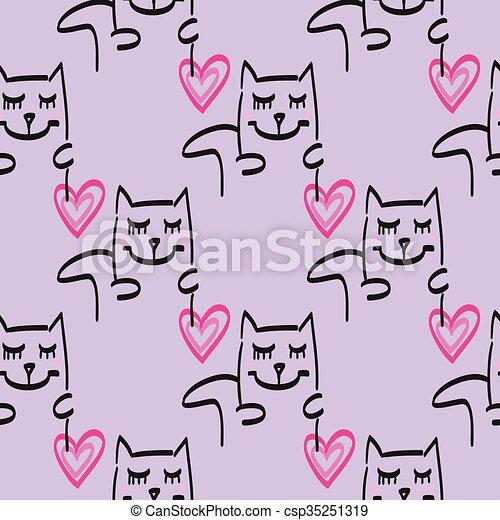 Cat pattern vector hand drawn illustration - csp35251319