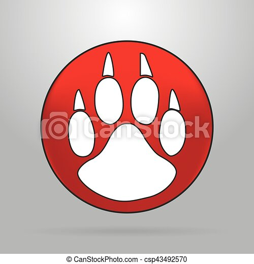 Cat paw logo on a red circle on a grey background - csp43492570