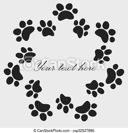 Cat Paw Prints Frame For Your Text Background Vector Cat Or Dog