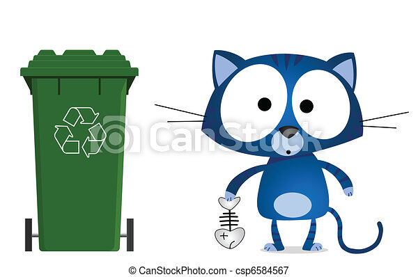 Cat recycling message - csp6584567