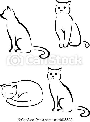 cat silhouette - csp9635802