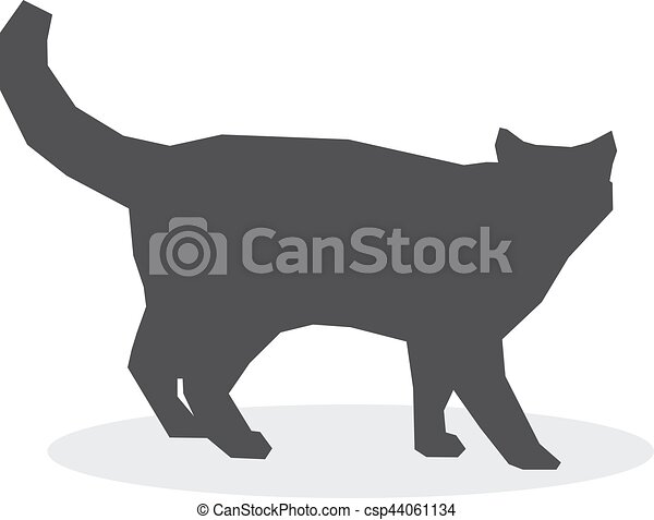 Cat silhouette on a white background. Vector illustration - csp44061134