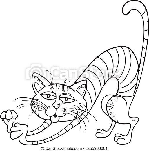Cat stretching for coloring book - csp5960801