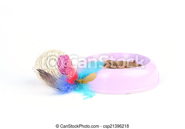 Cat toy with dry cat food in a bowl - csp21396218