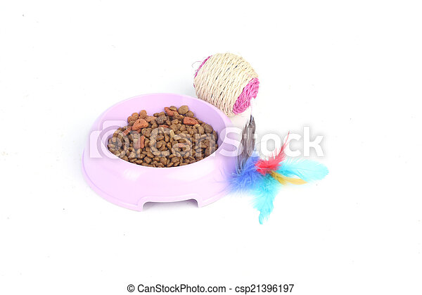Cat toy with dry cat food in a bowl - csp21396197
