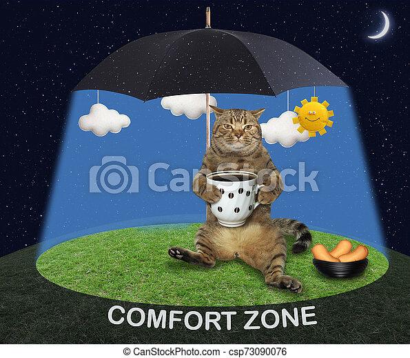 Cat under a black umbrella 2 - csp73090076