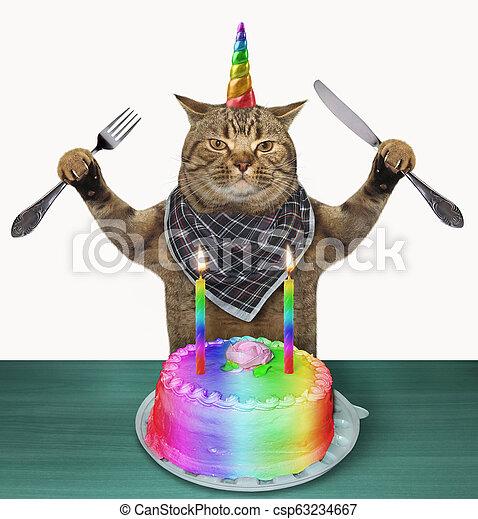 Fabulous Cat Unicorn With A Birthday Cake The Cat Unicorn With A Knife And Personalised Birthday Cards Epsylily Jamesorg