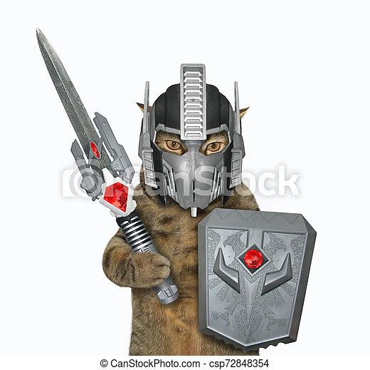Cat warrior in space armor 2 - csp72848354