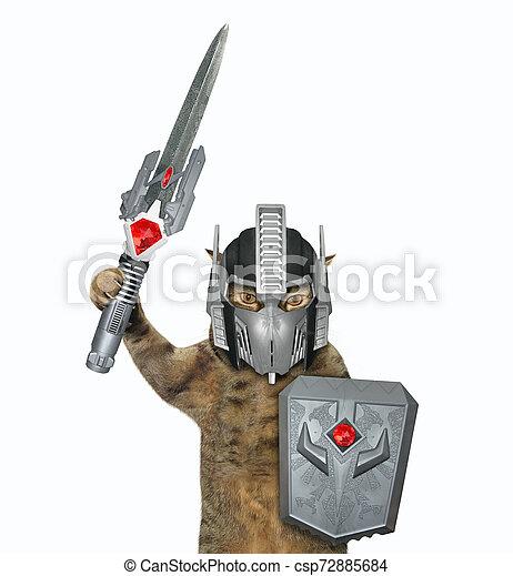 Cat warrior in space armor - csp72885684
