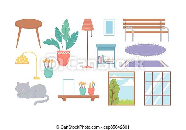 cat windows bench plant lamp carpets decoration icons - csp85642801