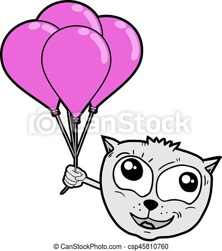 cat with balloons - csp45810760