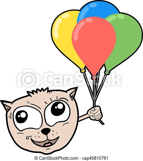 cat with color balloons - csp45810761