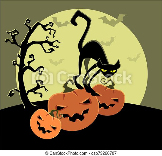 Cat with pumpkins on a background of the moon - csp73266707