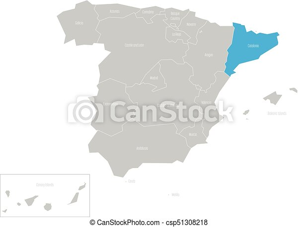 Catalonia Autonomous Community In The Map Of Spain