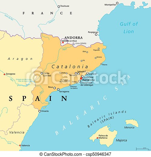 Map Of Spain Showing Catalonia.Catalonia Autonomous Community Of Spain Political Map Catalonia