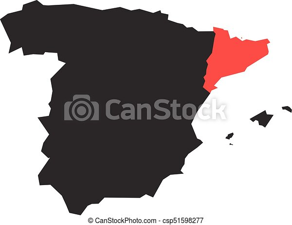 Map Of Spain By Region.Catalonia Region In A Vector Map Of Spain