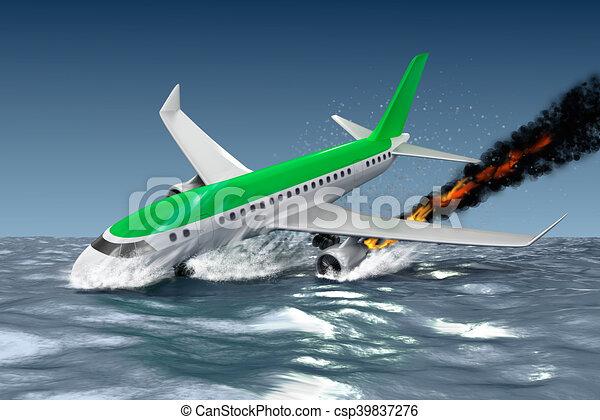 Catastrophe - Crash of Passenger plane . 3D illustration.  My own plane design. - csp39837276