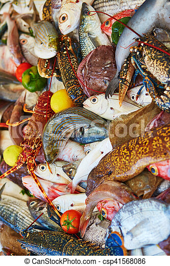 Catch of the day on a traditional Moroccan market (souk) in Essaouira, Morocco - csp41568086