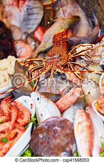 Catch of the day on a traditional Moroccan market (souk) in Essaouira, Morocco - csp41568053