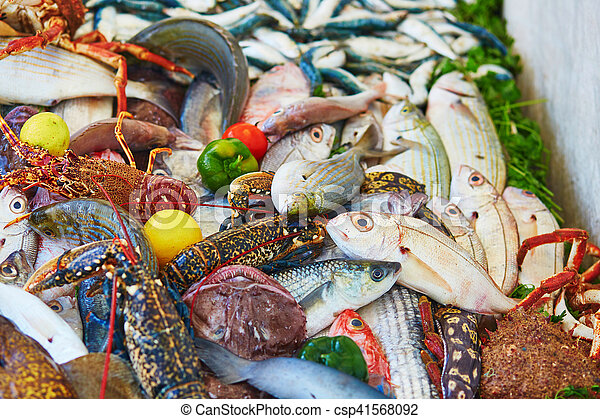 Catch of the day on a traditional Moroccan market (souk) in Essaouira, Morocco - csp41568092