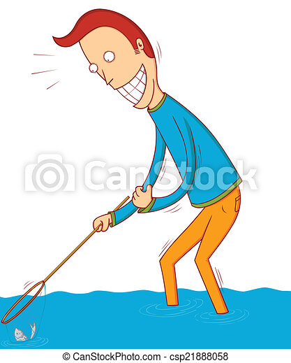 Vector Art - Man fishing with rod, catching vector fish on hook. Clipart  Drawing gg91501579 - GoGraph