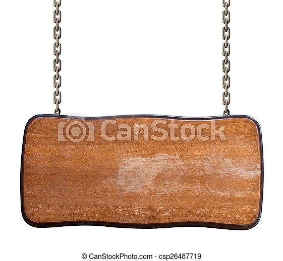 catena, cartello, isolato, portato, legno, bianco - csp26487719