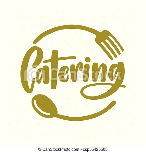 Catering Company Logo With Elegant Lettering Handwritten Cursive Font Decorated Fork And