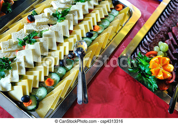 Catering food arrangement on table - csp4313316