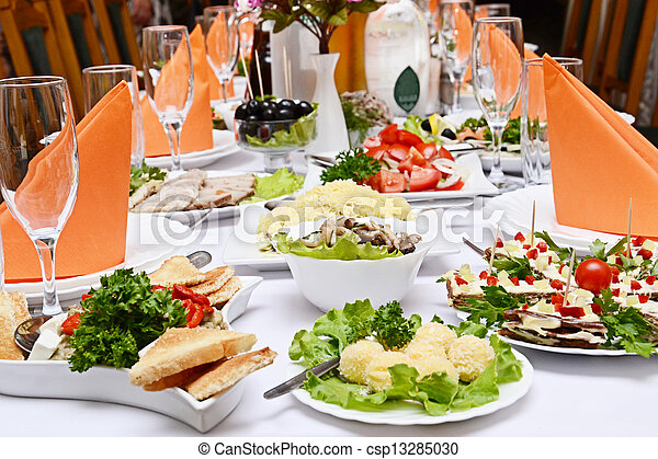 Catering food at a wedding party  - csp13285030