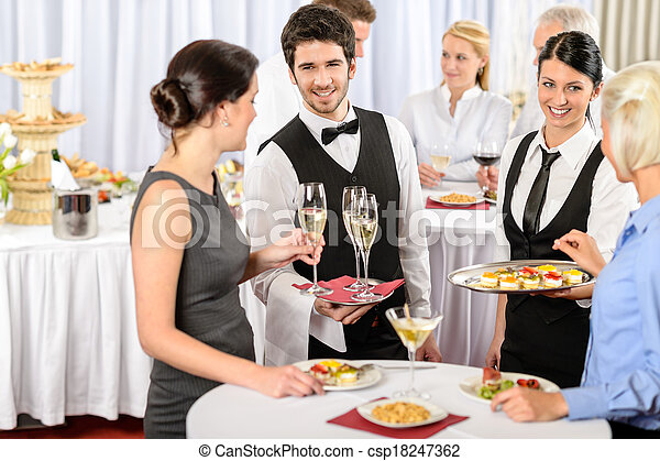 Catering service at company event offer food - csp18247362
