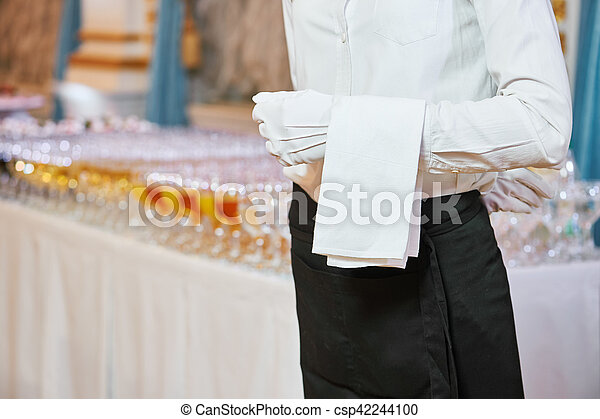 Catering Service Waiter On Duty In Restaurant