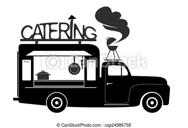 Side View Of A Food Truck Catering Van Stock Illustrations