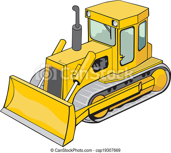 yellow caterpillar bulldozer for construction and road work rh canstockphoto com bulldozer clipart free outline bulldozer clipart black and white