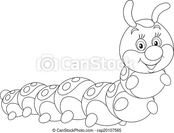 Caterpillar Caterpillar Friendly Smiling Black And White Outline