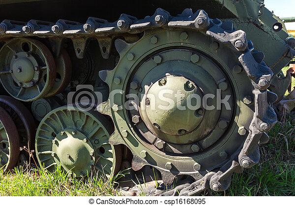 Caterpillars of a military tank close up detail - csp16168095