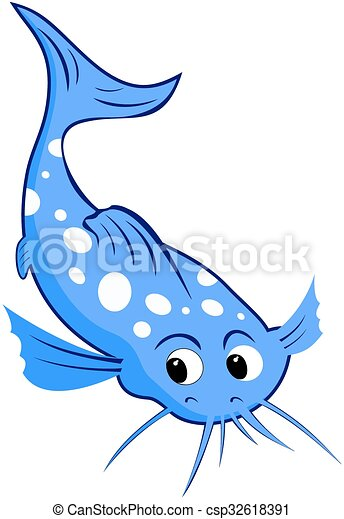 catfish cartoon blue catfish with white spots cartoon eps vectors rh canstockphoto com catfish clip art images catfish clipart black and white