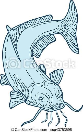Catfish Mud Cat Diving Down Mono Line - csp43753596