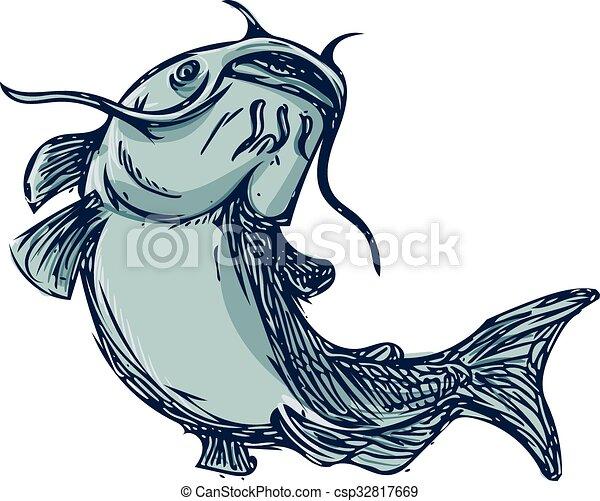 catfish mud cat jumping up drawing drawing sketch styleillustration
